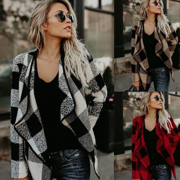 Europe and the United States casual plaid lapel coat jacket women