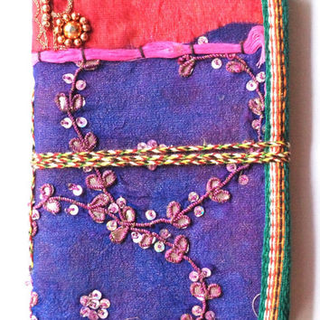 Food / Travel / Art Journal Handmade Paper / Diary / Notebook / Decorated / notebook With recycled embroidered Sari