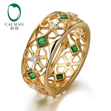 Caimao 14kt Yellow Gold 0.37ct Natural Princess Emerald Full Cut Diamond Wedding Band for Mens