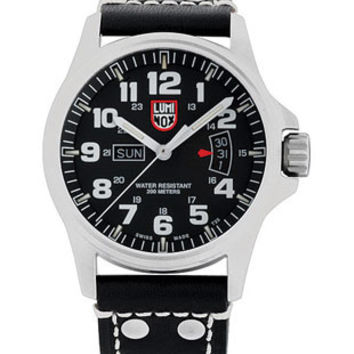 Luminox Field Time Date Watch - Black Dial - Black Leather Strap