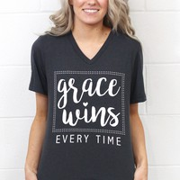 Grace Wins Every Time V-neck Tee {Charcoal}