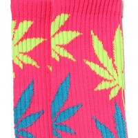 Huf - Neon Pink Plantlife Socks - Huf, Accessories, Accessories, Socks - KNYEW Clothing Boutique