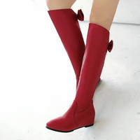 Rhinestone Knee High Boots Back Bow Wedges Women Shoes