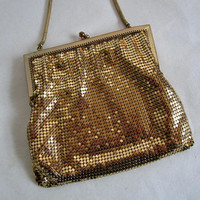 Vintage 70s Gold Mesh Handbag Whiting and Davis Style 1970s Evening Cocktail Purse