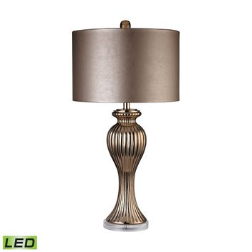 D2771-LED Copper Ribbed Tulip LED Table Lamp - Free Shipping!