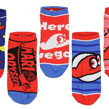 Nintendo Super Mario Odyssey Youth Cappy Hat Socks No Show Ankle 5 Pair