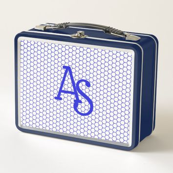 Blue pattern. Hexagonal grid. Monogram. Metal Lunch Box