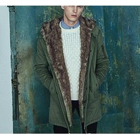 Solid Color Cotton padded Coat Adjustable Waist Men Fashion Jacket Military Army Green