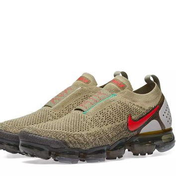 NIKE AIR VAPORMAX FLYKNIT MOC 2 NEUTRAL OLIVE, RED & HAZEL US men 12 Brand new