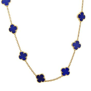 Van Cleef & Arpels Vintage Alhambra 20 Motif Lapis and Yellow Gold Necklace