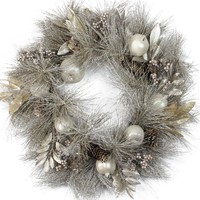 "24"" Glitter Champagne Gold Pomegranate  Apple  Pine Cone and Berry Christmas Wreath - Unlit"
