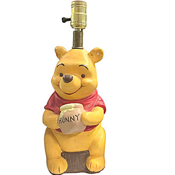 Big Winnie the Pooh Bedside Lamp, Vintage Baby Nursery Decor, Retro Childrens Room Style
