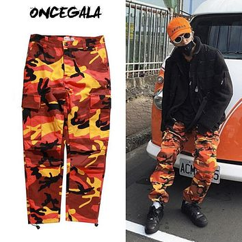 2017 New Fashion Mens Womens Cargo Pants Casual Multi-pockets Baggy Pants Cotton Military Camouflage Trousers Plus Size S-2XL