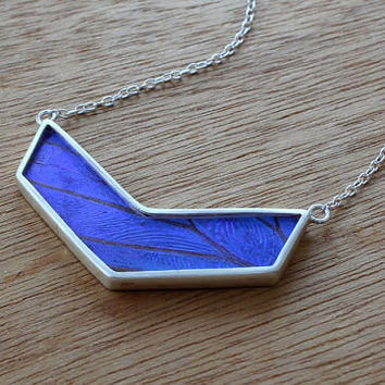 Real butterfly wing necklace - Real butterfly necklace - silver Chevron butterfly necklace - real butterfly - blue Morpho wing