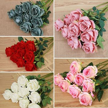 New Fashion Home Garden Centerpiece Silk Flowers Craft Rose Wedding Decoration Artificia Bouquet Family Decoration Drop Shipping