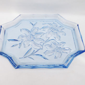 Vintage Art Deco Tray, Depression Blue Glass Tray , Floral Design Tray, UK Seller