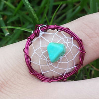Dream Big || Listing For ONE Ring. Wire Wrapped Dreamcatcher Ring. Native Turquoise Jewelry. Dreamcatcher jewelry.