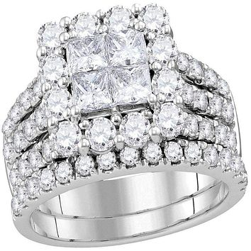 14kt White Gold Women's Princess Diamond Cluster Bridal Wedding Engagement Ring Band Set 3.00 Cttw - FREE Shipping (US/CAN)