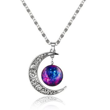 MISANANRYNE  Fashion Galaxy Necklace Lovely  Cabochon Hollow Moon Pendant Chain Necklace