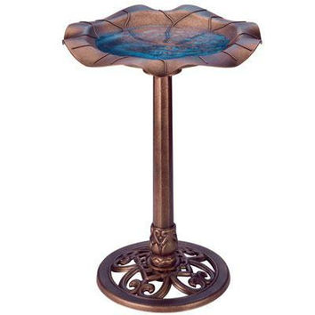 Lily Leaf Bird Bath Copper