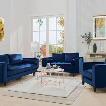 Acme 51075-76 2 pc Heather navy velvet sofa and love seat set