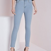 EDIE LIGHT BLUE HIGH WAISTED ANKLE GRAZER SKINNY JEANS