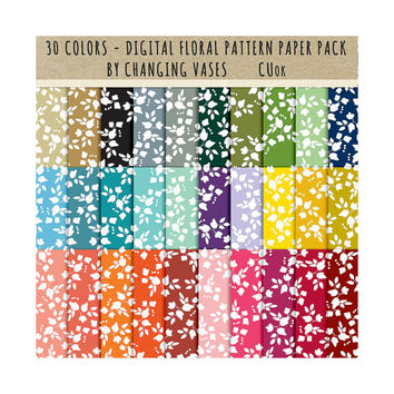 30 Digital Scrapbook Paper Pack, Flower Pattern Paper, Floral Clipart, Instant Download Graphic, Clipart Clip Art, Photo Background