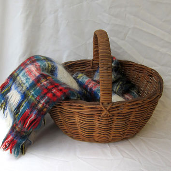 Vintage retro 1960s tartan plaid mohair wool picnic travel blanket throw