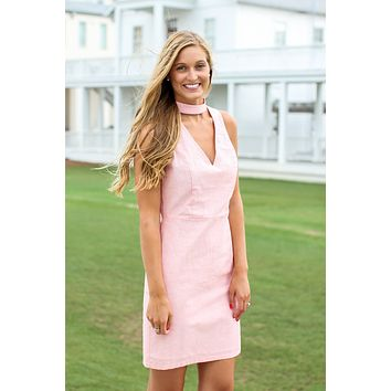 Chic Choker Dress - Vintage Coral