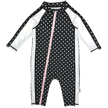 "Sunsuit - Girl Long Sleeve Romper Swimsuit with UPF 50+ | ""Black Polka Dots"""