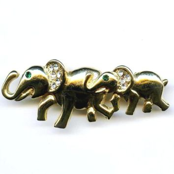 Vtg Elephant Rhinestone Gold Tone Pin 1980s Green Eyes