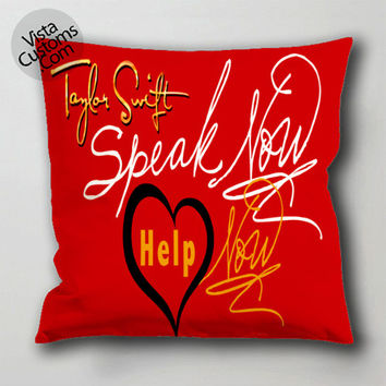 taylor swift logo quotes pillow case, cushion cover ( 1 or 2 Side Print With Size 16, 18, 20, 26, 30, 36 inch )