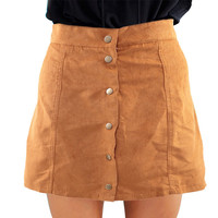Hot Sale Sexy Style Summer New Fashion Women Skirt Stylish Mid Waist The Button Down Casual Solid  A-Line Ladies Skirt