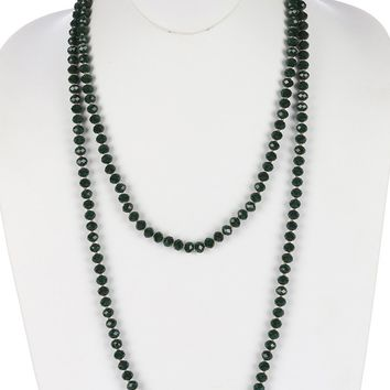 Green Iridescent Glass Bead Extra Long Wraparound Necklace