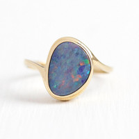 Opal Doublet Ring - Estate 14k Yellow Gold Bypass Design Statement - Size 6 1/4 Composite Violet Blue Play of Color Gem Fine Modern Jewelry