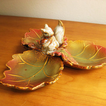 Vintage Ceramic Squirrel Nut Dish, Candy Dish, Divided Serving Dish or Trinket Dish, with Leaves
