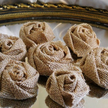 "Set of 20, 2"" Tight Weave Natural Burlap Roses for weddings, bouquet making, wedding decor, scrapbooking, gifts, crafts"
