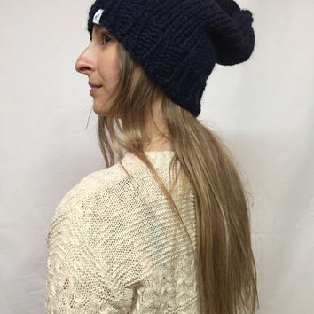 Knit Slouchy Hat Beanie Dark Navy Warm And Cozy