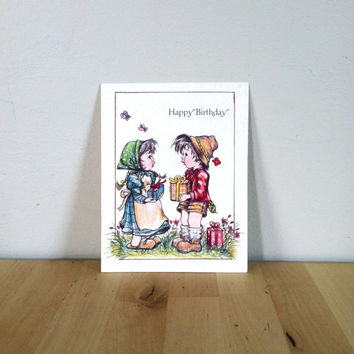 Happy Birthday, Little Boy and Girl Giving Gifts Paper Ephemera {1987} Vintage Greeting Card