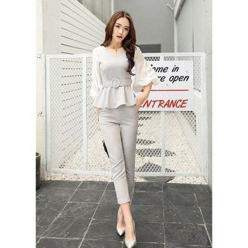 VONE05F8 Women business suits formal  strench suits work uniform designs Women top and cropped pant 2 piece set