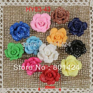 free shipping 30pcs 83-43  Mixed Lots Rose Flower Fimo Polymer Clay Beads DIY Crafts  flower shape