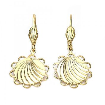 Gold Layered 5.081.015.1 Dangle Earring, Flower Design, Diamond Cutting Finish, Gold Tone