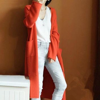 Long Sleeve Women Wool Cashmere Blend Sweater Cardigan Autumn V Neck Knitted Loose Pull Femme Jumper 2018 New Winter Korean Coat