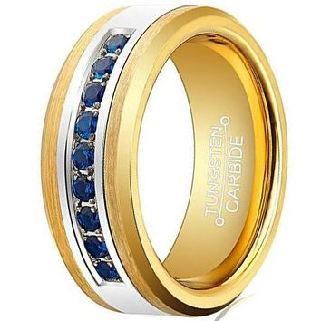 8mm Gold Tungsten Ring Gold Plated Blue Cubic Zirconia Inlay Unisex Wedding Band