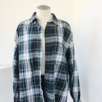 EDDIE BAUER VINTAGE FLANNEL- GREEN/NAVY/YELLOW