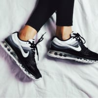 """NIKE"" Trending Fashion Casual Sports Shoes AirMax section Black White Gradient I"