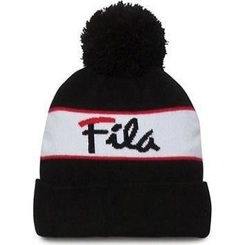 Fila Men's Heritage Beanie Hat,Black,One Size