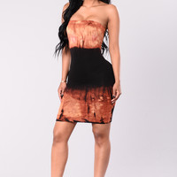 Electric Dress - Black/Rust
