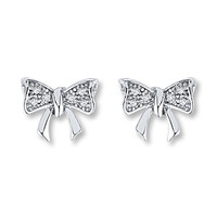Diamond Bow Earrings 1/15 ct tw Round-cut Sterling Silver