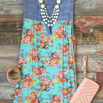 Floral Chambray Tunic Dress